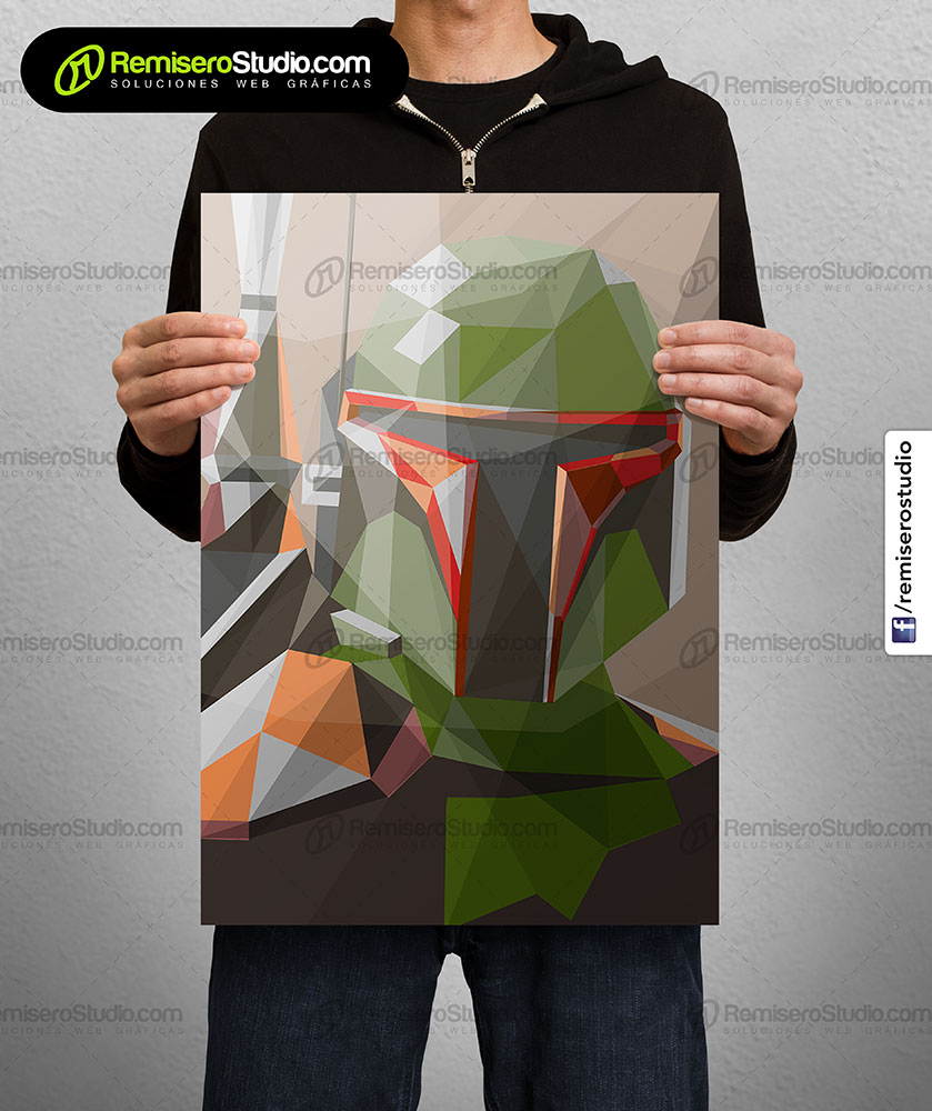 Impresión de afiche en Couche A4 Diseño poligonal Star Wars - bounty hunter