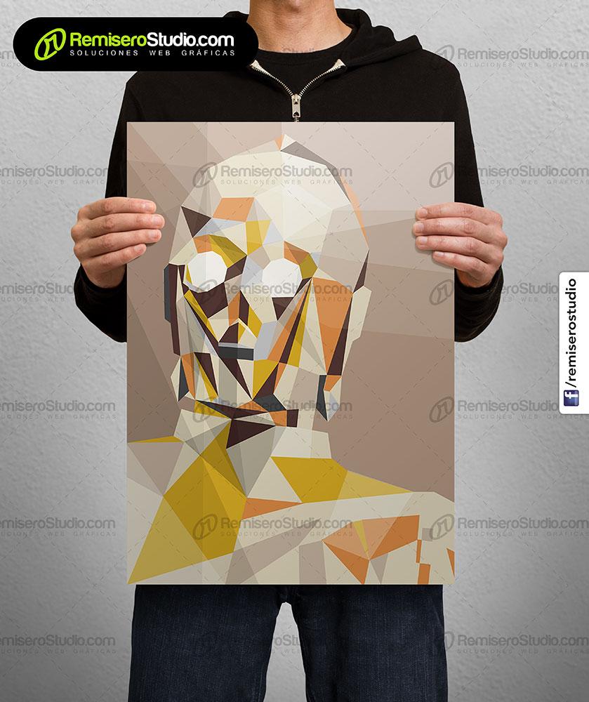 Impresión de afiche en Couche A4 Diseño poligonal Star Wars - c3p0