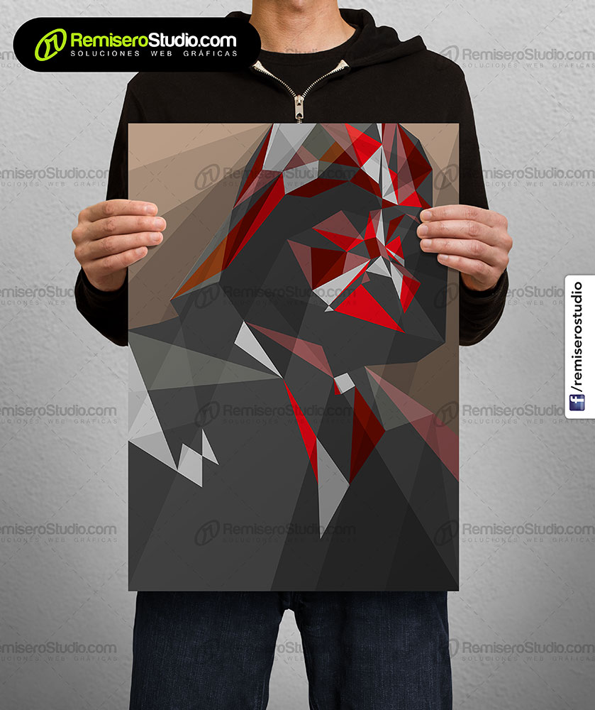 Impresión de afiche en Couche A4 Diseño poligonal Star Wars - darth vader