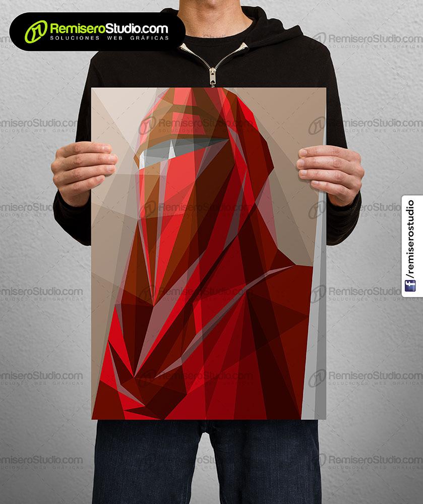 Impresión de afiche en Couche A4 Diseño poligonal Star Wars - guardia real emperador