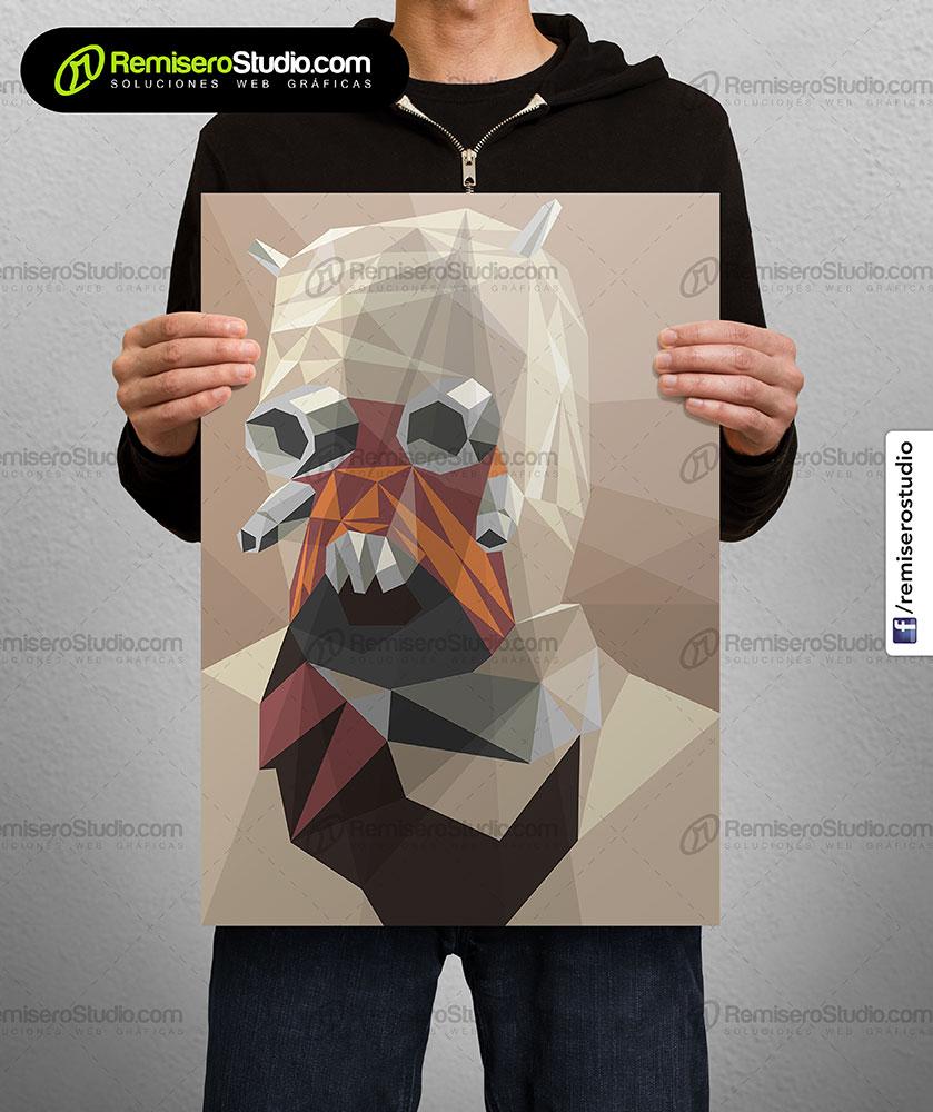 Impresión de afiche en Couche A4 Diseño poligonal Star Wars - Moradores de las arenas