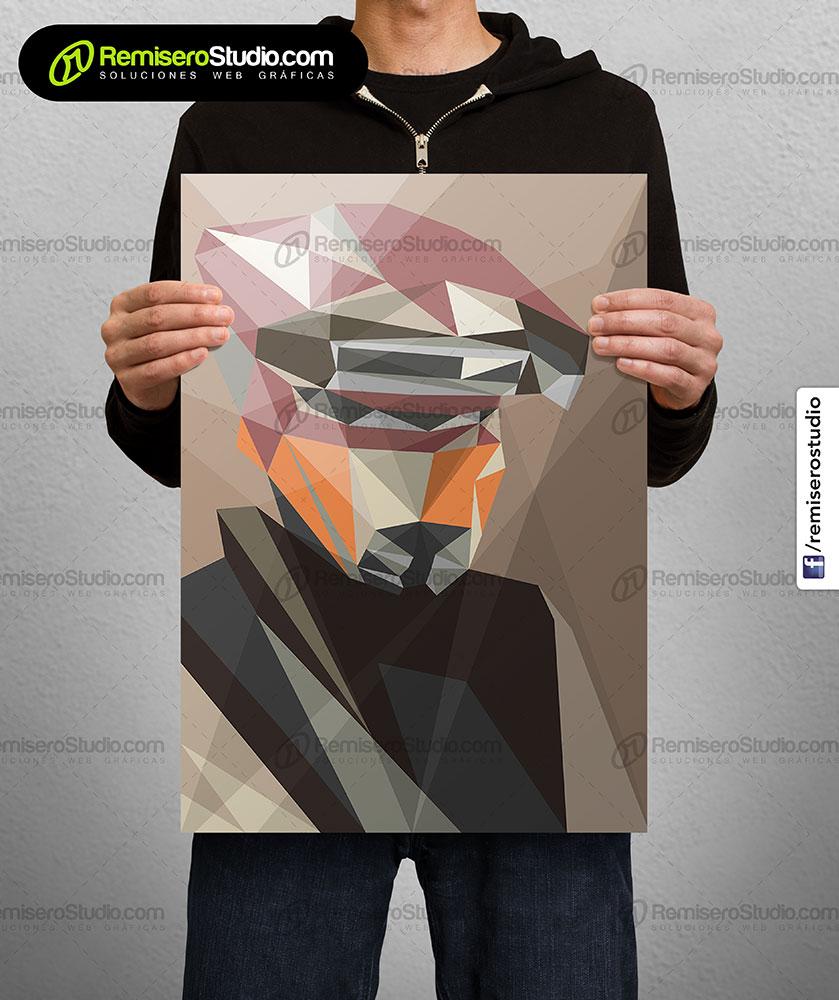 Impresión de afiche en Couche A4 Diseño poligonal Star Wars - Boushh helmet