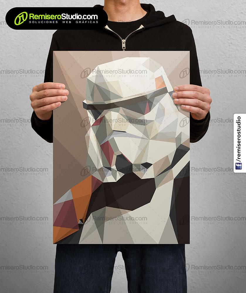 Impresión de afiche en Couche A4 Diseño poligonal Star Wars - trooper