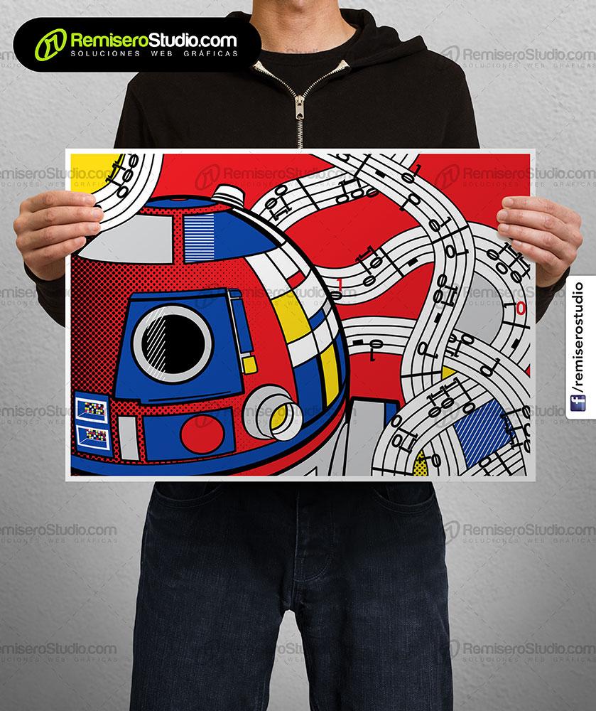 Impresión de afiche en Couche A3 Arte Pop Star Wars