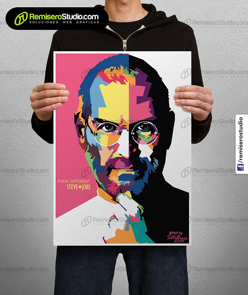 Impresión de afiche en Couche A3 Arte Pop Steve Jobs