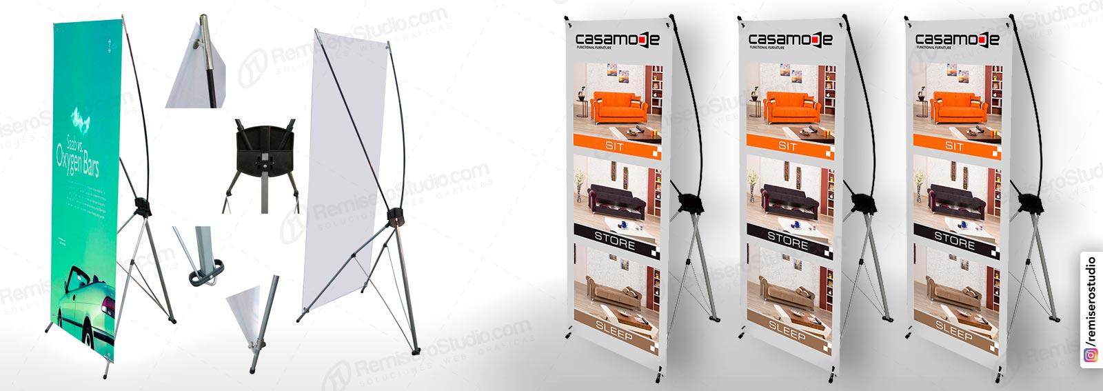 Banner impreso con Parante Araña X-Banner PVC Aluminio 1.20 x 2.00: Parante publicitario de aluminio impreso en banner a full color en alta resolución: 1440 dpi, incluye maletín.