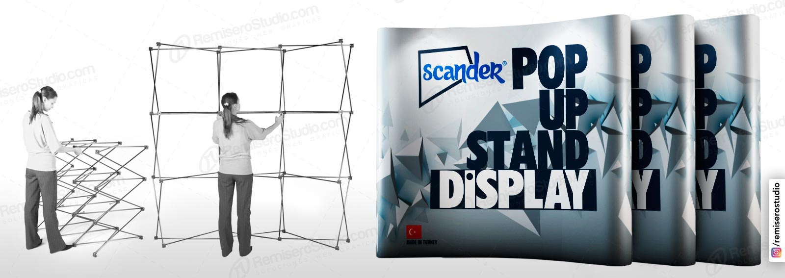Display Wall Curvo y recto, Backing importado portatil para stand en eventos y ferias, Display Publicitario impreso en alta resolución 1440 dpi, incluye maletin, reflectores y las gráficas.