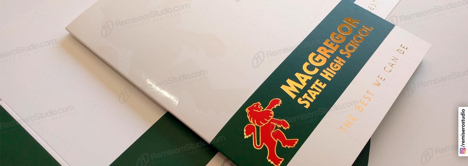 Folders impresos en foldcote con pan de oro hot stamping