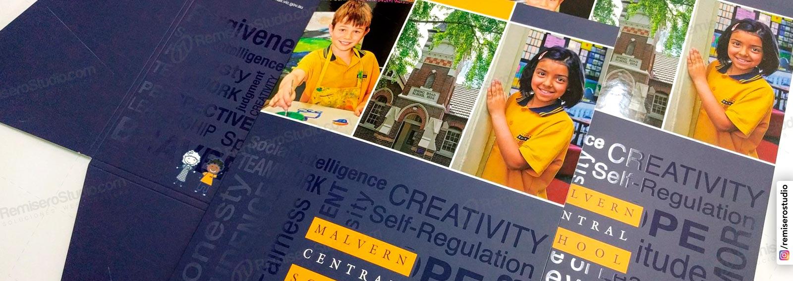 Folders para presentación de colegios impresos a full color con barniz uv sectorizado