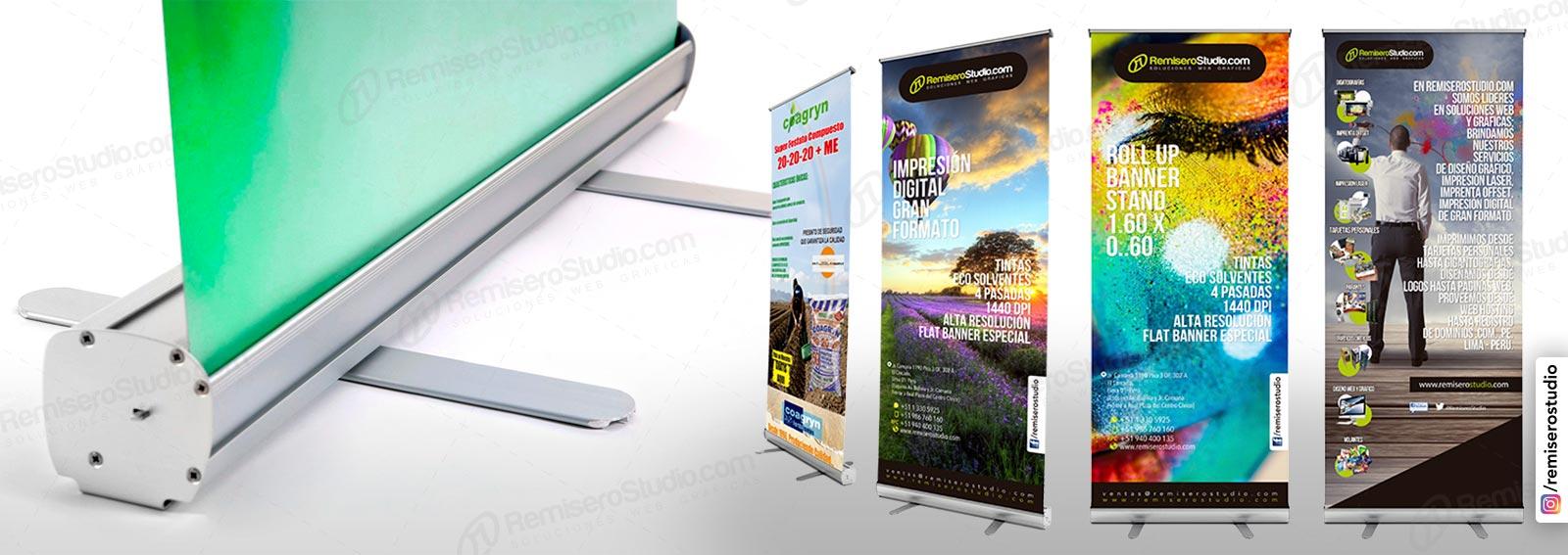 Roll Up banner o Roll Screen de 0.60 x 1.60 metros: Parante publicitario de aluminio para banner impreso a full color en alta resolución: 1440 dpi, incluye maletín