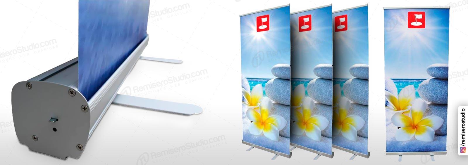 Roll Up banner o Roll Screen de 0.85 x 2.0 metros: Parante publicitario de aluminio para banner impreso a full color en alta resolución: 1440 dpi, incluye maletín
