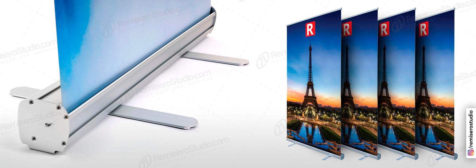 Roll Up banner o Roll Screen de 1.20 x 2.0 metros: Parante publicitario de aluminio para banner impreso a full color en alta resolución: 1440 dpi, incluye maletín