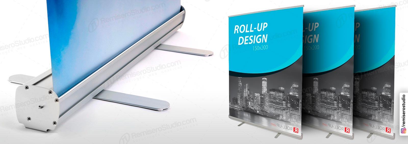 Roll Up banner o Roll Screen de 1.50 x 2.0 metros: Parante publicitario de aluminio para banner impreso a full color en alta resolución: 1440 dpi, incluye maletín