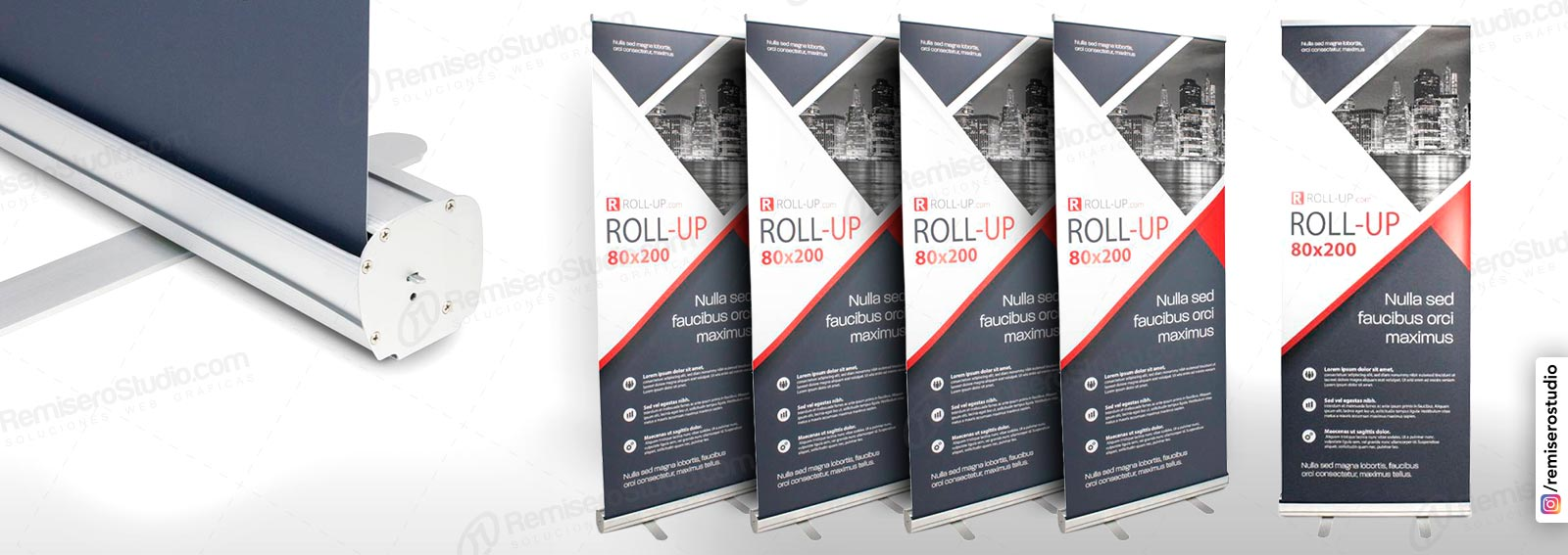 Roll Up banner o Roll Screen de 0.80 x 2.0 metros: Parante publicitario de aluminio para banner impreso a full color en alta resolución: 1440 dpi, incluye maletín