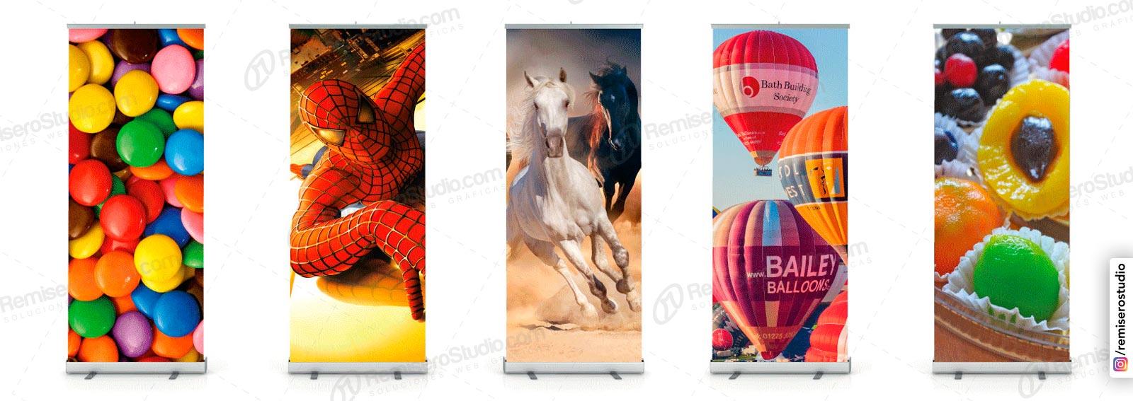 Roll Up banner o Roll Screen de 1 x 2 metros: Parante publicitario de aluminio para banner impreso a full color en alta resolución: 1440 dpi, incluye maletín