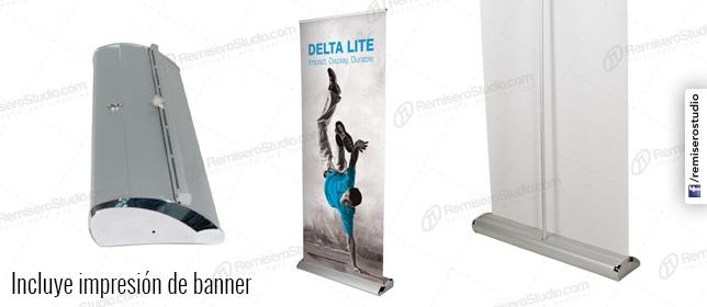 Roll Up banner Luxury de 1 x 2 metros: Parante publicitario de aluminio para banner impreso a full color en alta resolución: 1440 dpi, incluye maletín