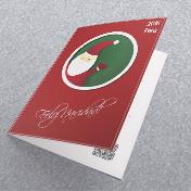 Papa noel, santa claus, fondo rojo oscuro navideño. Tarjetas Navideñas Corporativas para empresas Perú -  Navidad 2021 - 2022