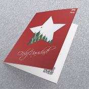 estrella de navidad sobre fondo rojo navideño. Tarjetas Navideñas Corporativas para empresas Perú, Navidad -  Navidad 2021 - 2022.