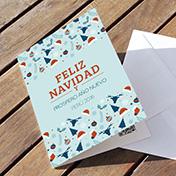 Tapiz navideño celeste con saludo - tarjetas navideñas corporativas Perú -  Navidad 2021 - 2022