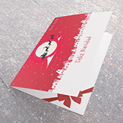 Tarjeta Roja con trineo en Noche de Navidad -Tarjetas Navideñas para empresas -  Navidad 2021 - 2022