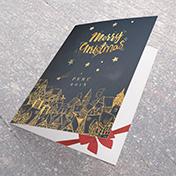 Tarjeta Merry Christmas, Noche de estrellas sobre la Villa  - Tarjetas Navideñas para empresas -  Navidad 2021 - 2022