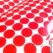 Etiquetas circulares 15 mm diametro vinil adhesivo color rojo