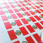 Stickers adhesivos de banderas impresos en papel couche cliente tdh