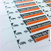 Stickers adhesivos impresos en papel couche logos cliente tdh