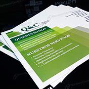 Dípticos impreso ambas caras 20 x 15 cm couche 300 gramos plastificado mate cliente QyC