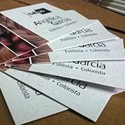tarjetas personales ecológicas impresas en cartulinas recicladas de 240 gramos Anice - Flora - Cordenons. Cliente TABOO