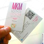 Tarjetas personales ecológicas impresión en cartulina reciclada de 250 gramos cliente MKM