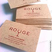 Tarjetas personales impresas en cartulina kraft reciclada 250 gramos cliente rouge