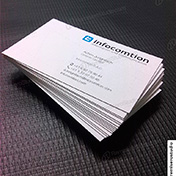 Tarjetas personales ecologicas impresas en cartulina reciclada gardenia 350 gramos cliente infocomtion