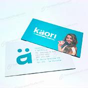Tarjetas personales impresas en couche de 300 gramos plastificado mate y barnizado uv sectorizado cliente dental kaori
